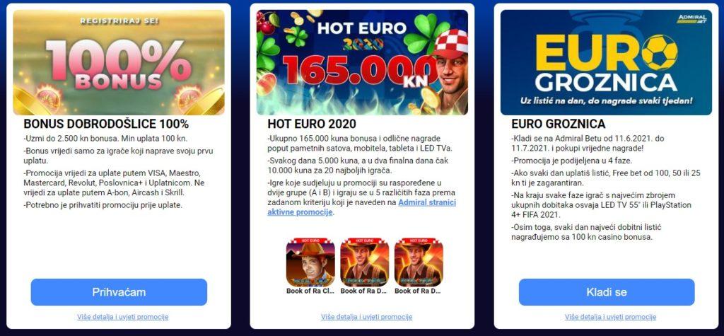 Admiral online casino bonusi