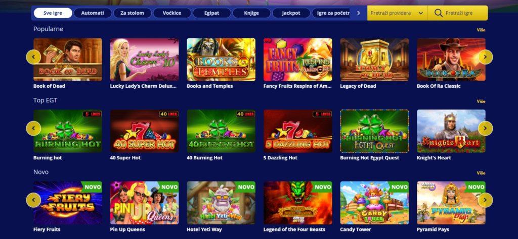 Izgled Senator Casino stranice