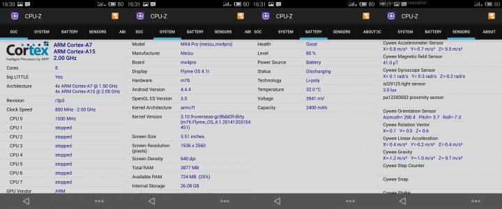 Meizu MX4 Pro cpu-z