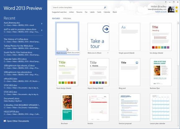 Novi početni zaslon za Office 2013