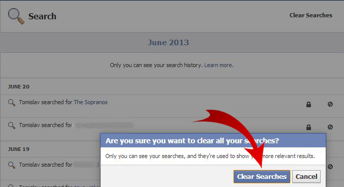 Facebook - Clear Searches