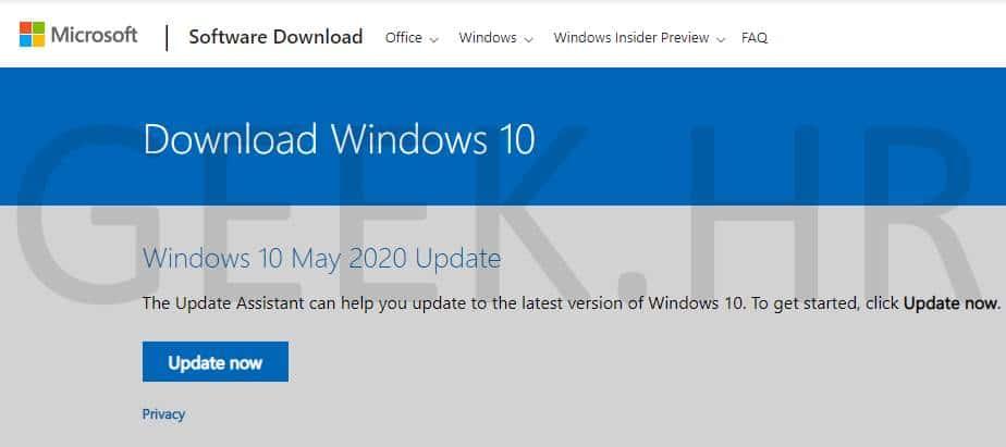 Microsoft Windows 10 May 2020 update