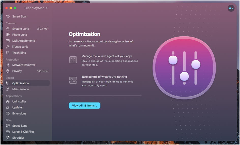 CleanMyMac X Optimizacija