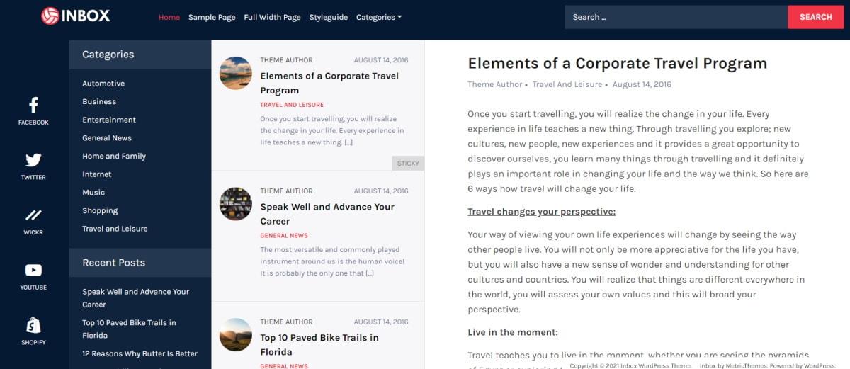WordPress tema Inbox i jedinstveni dizajn