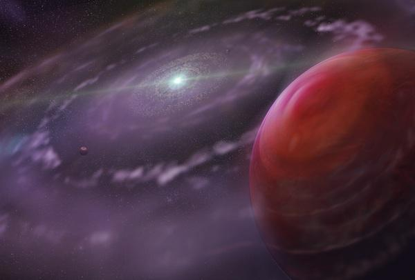 Artist's rendering of the planetary system HR 8799 at an early stage in its evolution, showing the planet HR 8799c, as well as a disk of gas and dust, and interior planets. (Credit: Dunlap Institute for Astronomy & Astrophysics; Mediafarm)