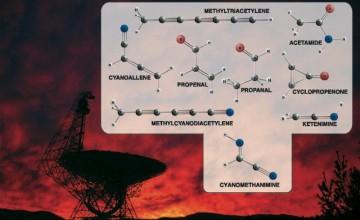Green Bank teleskop i neke od molekula koje je otkrio. (Credit: Bill Saxton, NRAO/AUI/NSF)