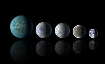 Naseljivi egzoplaneti, od lijeva na desno: Kepler-22b, Kepler-69c, Kepler-62e, Kepler-62f i Zemlja