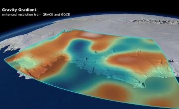 Promjene u Zemljinom gravitacijskom polju uzrokovane topljenjem leda na AntarkticiCredit: DGFI/Planetary Visions