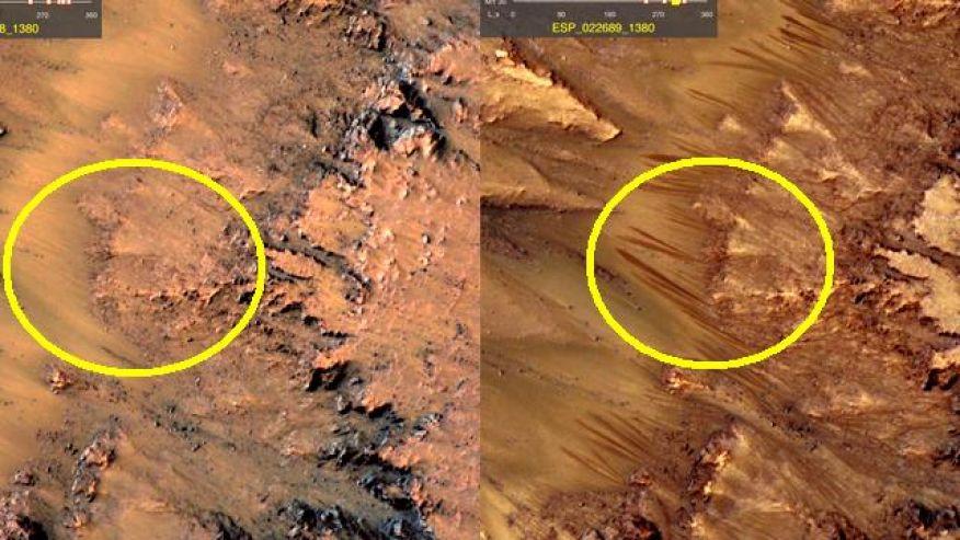 Skromni ostaci vode na Marsovoj površini (Credit: NASA/Reddit)