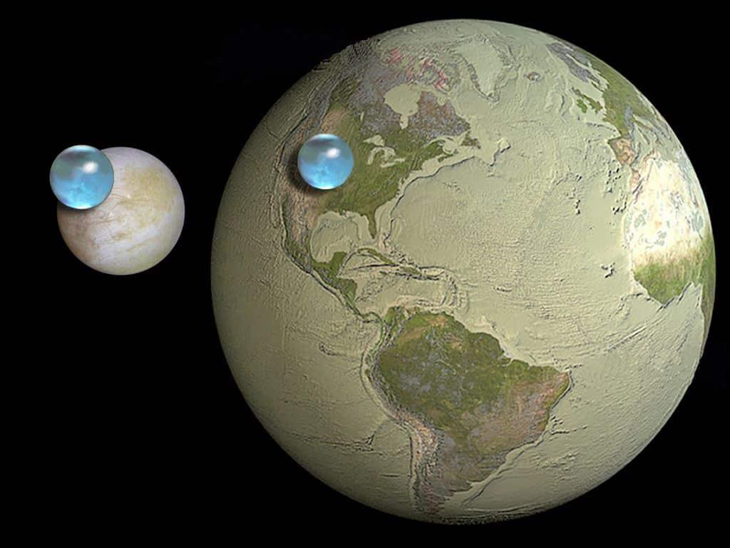 Europa sadrži gotovo tri puta više tekuće vode no Zemlja (Credit: NASA)