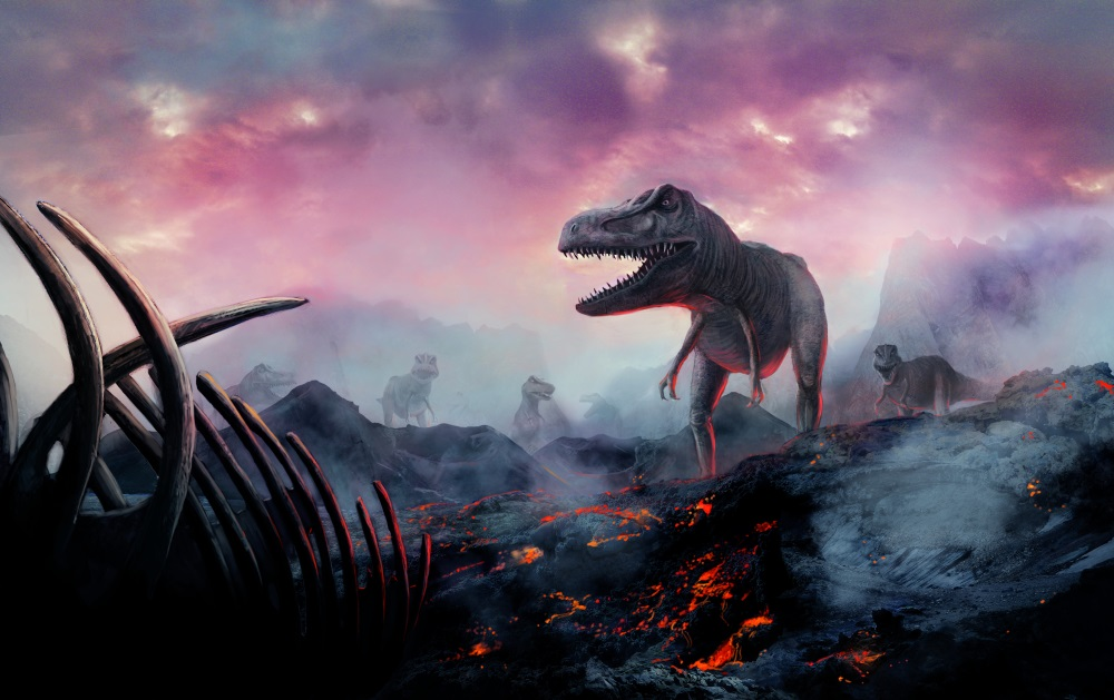 Atmospheric mountainous landscape with live volcanos and dinosaurs.