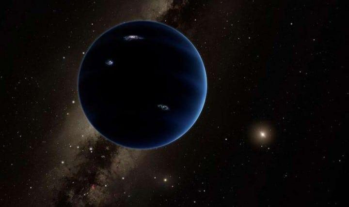 """Umjetnički prikaz """"Devetog planeta"""", sa Suncem u pozadini. Pretpostavlja se kako je riječ o plinovitom planetu, sličnom Uranu i Neptunu. Izvor: Caltech/R. Hurt (IPAC)"""