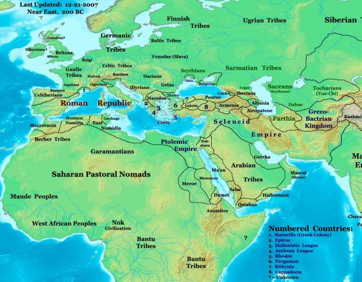 Karta Europe, sjevernog dijela Afrike i Bliskog istoka oko 200. g. pr. Kr. (FOTO: Thomas A. Lessman /Wikipedia)