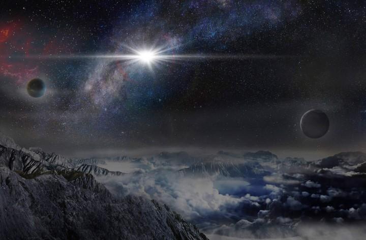 Umjetnički prikaz ASASSN-15lh, kako bi izgledao promatran s površine planeta u matičnoj galaksiji, udaljenog 10.000 svjetlosnih godina od ASASSN-15lh. FOTO: Jin Ma / Beijing Planetarium.