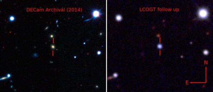 Lijevo: Fotografija matične galaksije prije eksplozije ASASSN-15lh, snimljena Dark Energy kamerom. Desno: Fotografija ASASSN-15lh nakon eksplozije, koju je zabilježila Las Cumbres Observatory Global Telescope Network. (FOTO: Dark Energy Survey / B. Shappee / ASAS-SN Team)