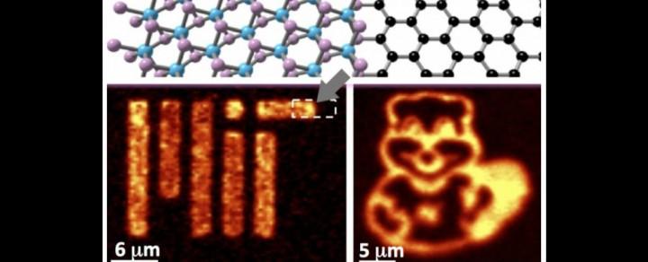 Kako bi pokazali fotoluminiscentna svojstva molibden disulfida nanesenog na grafen, znanstvenici su stvorili nanometarski logo MIT-a i minijaturni crtež MIT maskote Dabra Tima. (FOTO: MIT)