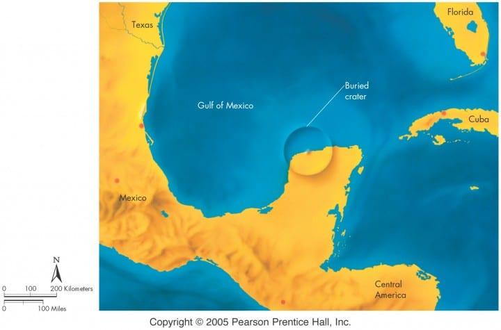 Karta kratera Chicxulub (FOTO: Pearson Prentice Hall Inc. / GeoScienze)