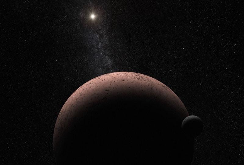 Umjetnički prikaz patuljastog planeta Makemake i njegova mjeseca (Credit: NASA/ESA/A. Parker)