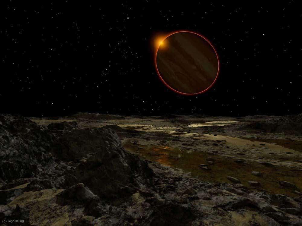 Jupiter, gledan s površine Europe, udaljen je 780 milijuna kilometara od Sunca (Credit: Ron Miller)