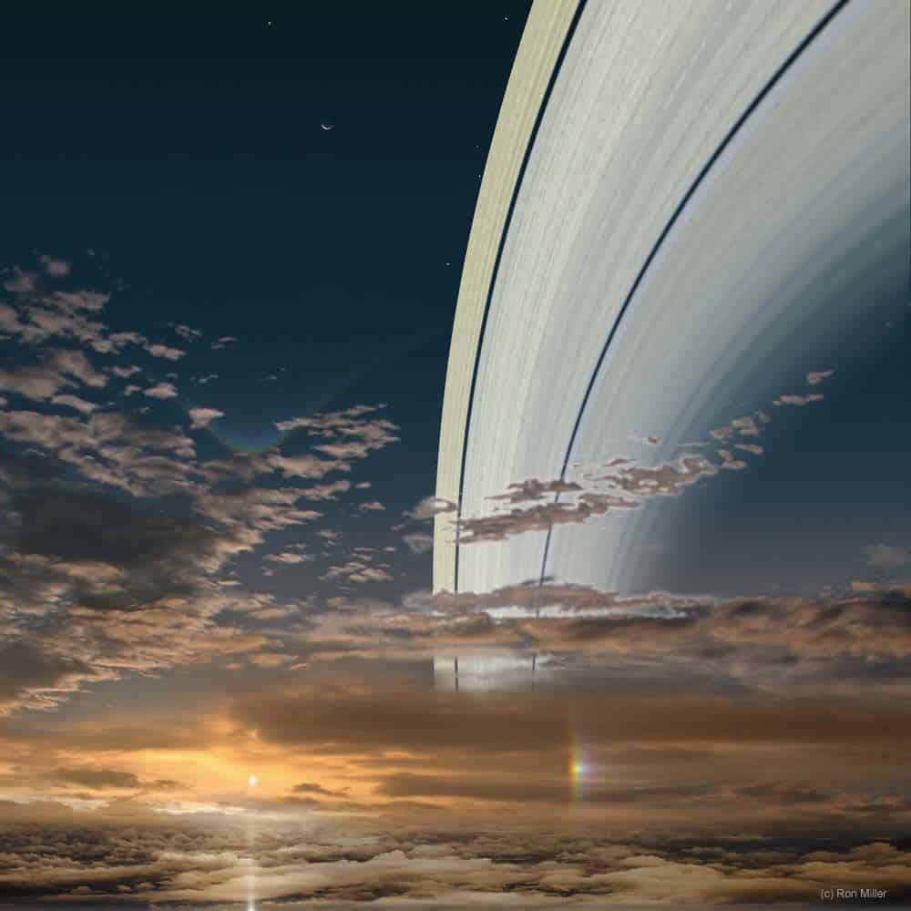 Obzirom na prstenove koji ga okružuju, najupečatljiviji pogled na Sunce vjerojatno bi bio sa Saturna. Oni su, inače, udaljeni 890 milijuna kilometara jedan od drugoga (Credit: Ron Miller)