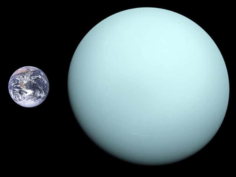 Usporedba veličine Zemlje i Urana (Credit: Wikipedia)