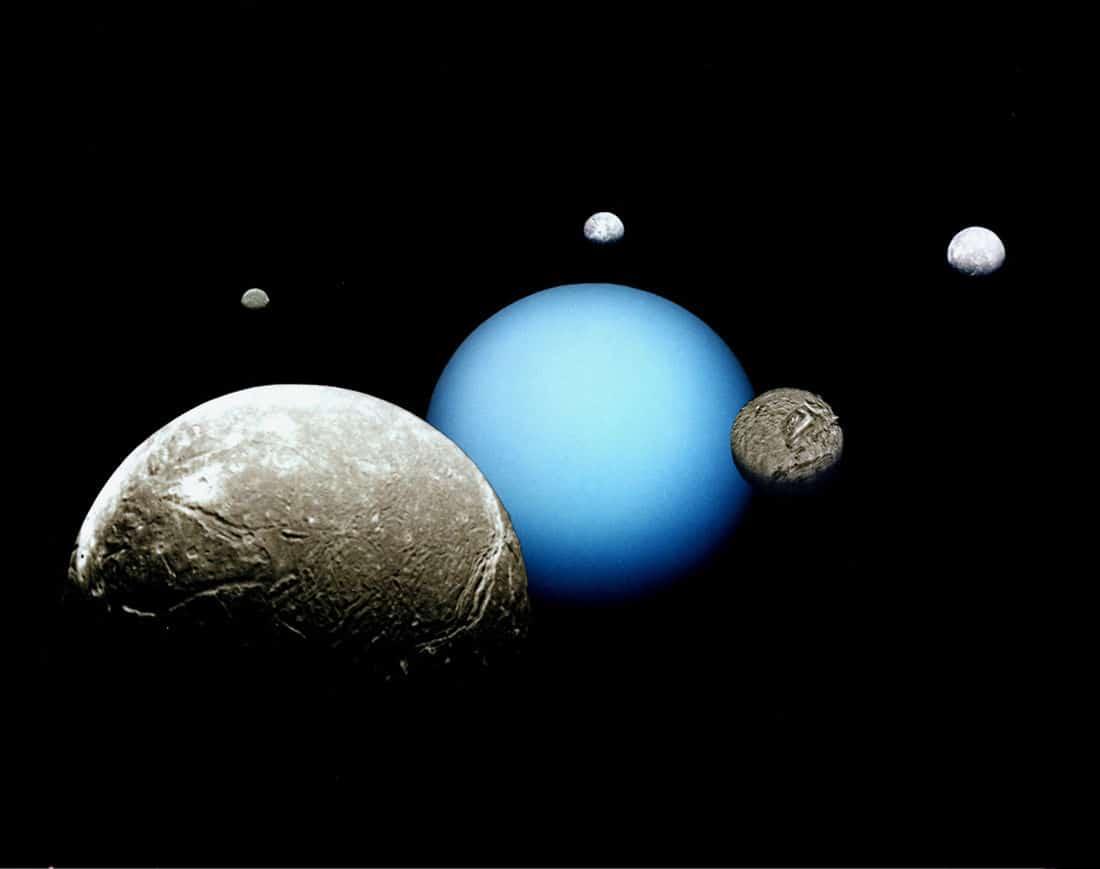 Uran i njegovih pet najvećih mjeseca: Ariel, Miranda, Titania, Oberon i Umbriel (Credit: NASA/JPL)