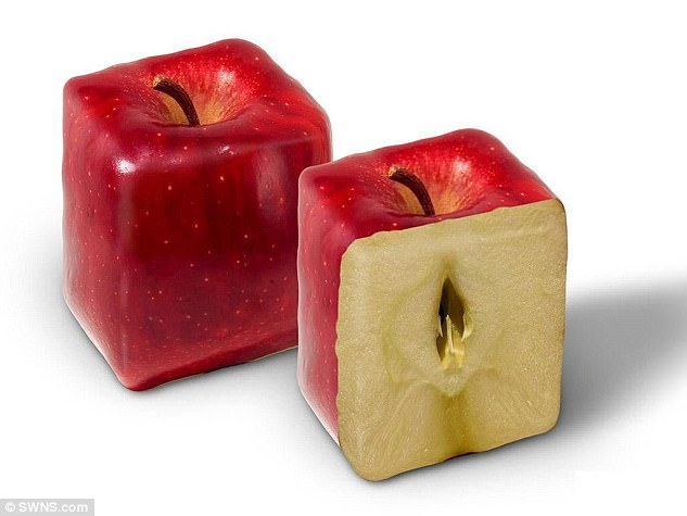 The company claims 'any kind of fruit can be shaped by the moulds'. Pictured is a pair of apples shaped into cubes