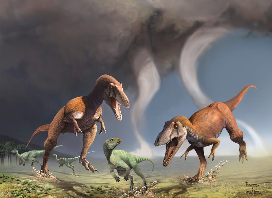 Two Cretaceous Period predatory dinosaurs named Gualicho shinyae hunting smaller bipedal herbivorous dinosaurs in northern Patagonia 90 million years ago | Autor: HANDOUT